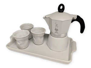 Bialetti Dama 3 Cup Gift Set with Tray - White