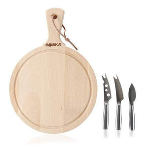 Boska round cheese board with three mini cheese knives