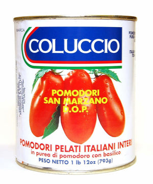 Coluccio San Marzano DOP Peeled Tomatoes Puree with Basil, 28 oz