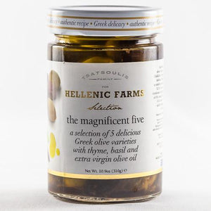 Hellenic Farms The Magnificent Five Greek Olives Varieties, 10.9 oz Olives & Capers Hellenic Farms