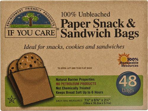 If You Care Paper Sandwich and Snack Bags - 48 bags ( Pack of 12 )