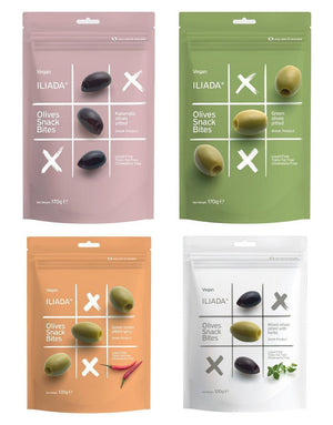 Iliada Pitted Olives Snack Bites Variety 4 Pack, 6 oz