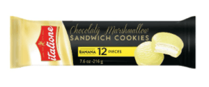 Italione Banana Choco Covered Marshmallow Sandwich Cookies, 7.6 oz Sweets & Snacks Italione
