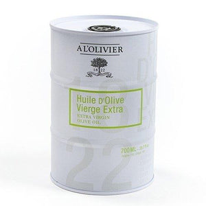L'Olivier Extra Virgin Olive Oil in a white Tin Can - 23.7 FL. oz
