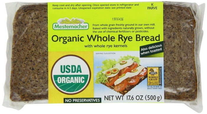 Mestemacher Organic Natural Whole Rye Bread, 17.6 oz
