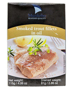 Munkebo Smoked Trout Fillets in Oil, 4.6 oz Seafood Munkebo