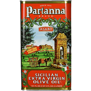 Partanna Extra Virgin Olive Oil Tin, 3 Liters Oil & Vinegar Partanna