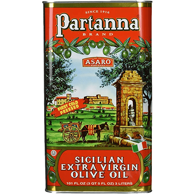 Partanna Extra Virgin Olive Oil Tin, 3 Liters