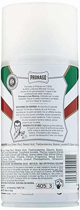 Proraso Shaving Foam for Sensitive Skin, 10.6 oz