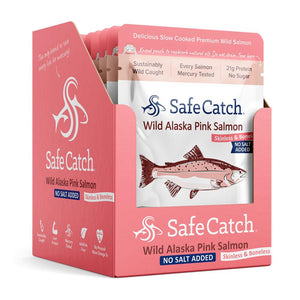 Safe Catch No Salt Added Wild Alaska Pink Salmon, 3 oz pouch pack of 12