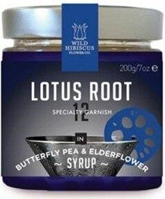 Wild Hibiscus Lotus Root In Butterfly Pea and Elderflower Syrup, 200 grams
