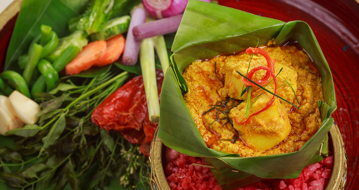 Cambodian curry in a bowl of banana leaves