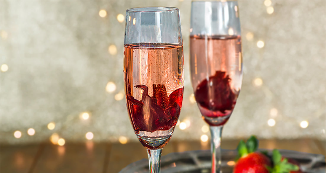 Pomegranate Champagne with Wild Hibiscus Flower