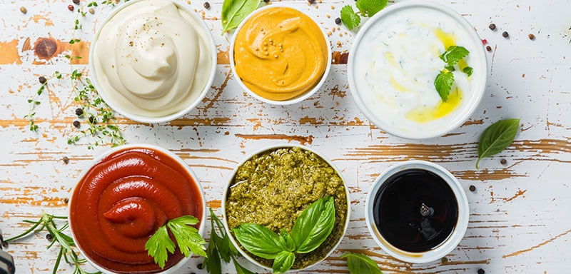 Italian Condiments and Sauces in Bowls