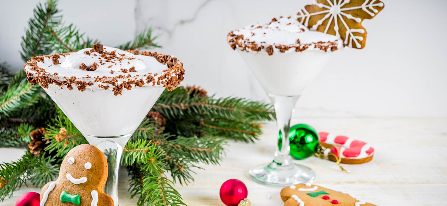 Creamy Gingerbread Martini with Gingerbread Cookie Crumbles on the Rim