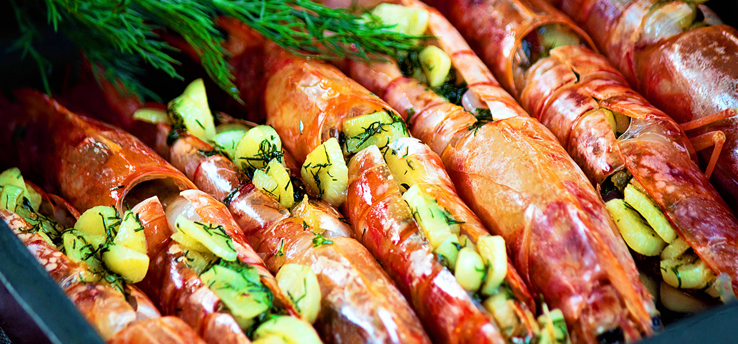 Oven baked langoustine lobsters