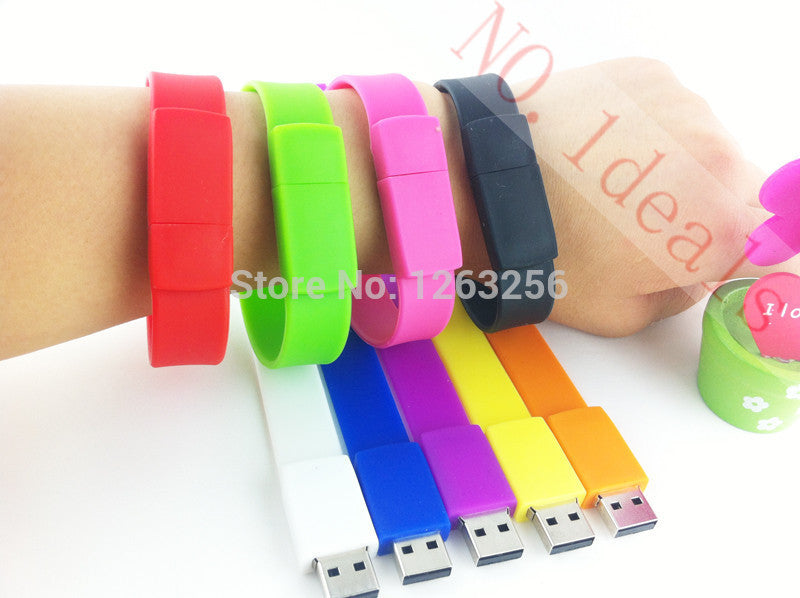 100% real capacity Silicone Bracelet Wrist Band 16GB 16GB 8GB 4GB USB 2.0 USB Flash Drive Pen Drive Stick U Disk Pendrives - Shopy Max