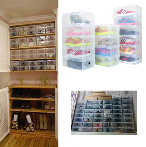 10X Transparent Clear Plastic Shoe Boxes Stackable Foldable Organizer Box Bulk