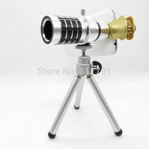 12X Optical Zoom mobile Phone Len Set For Samsung Galaxy S5 S4 Iphone 5S 5C Moble Phone With tripod universal clip lens