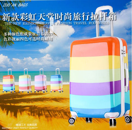 "20"" inch Colorful ice cream design trolley suitcase luggage rolling spinner wheels for Women Girl ABS+PC traveller case Cartoon"