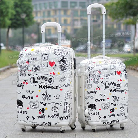 "20"" inches ABS+PC hard shell lovely cartoon suitcase trolley luggage/Pull Rod Travel trunk /traveller case box spinner wheels"