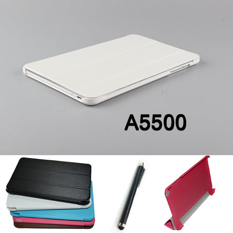 2014 NEW fashion Tablet PU Leather stand Case cover for lenovo A5500 Tab ideatab A8-50 5500 6-Color +Stylus pen Free Shipping