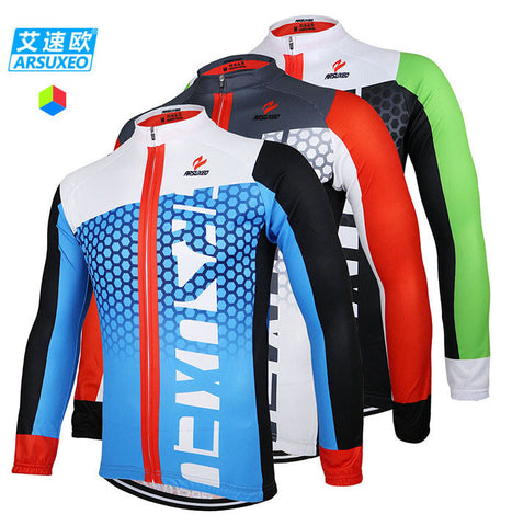 ARSUXEO Men Cycling Jersey Bike Bicycle Long Sleeves  Mountaion Clothing Shirts ZLJ21-Q