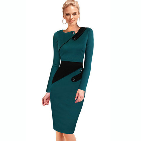 2015 Autumn Business Pencil Dress Elegant Illusion Patchwork Sheath Buttons Full Sleeve Fitted Women Bodycon Bandage Dress b231