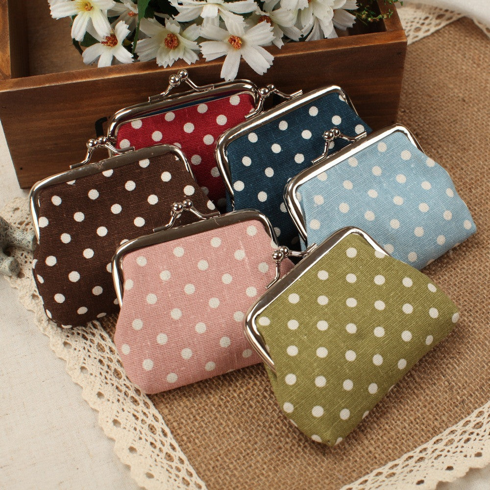 The new dot cloth art is small change purse canvas buckles coin bag students small coin purse