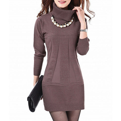 2014 Fashion Women Knitted Dress Ladies Casual Turtleneck And O-neck Plus Size O-Neck Women Plus Size Winter Dresses WZQ039