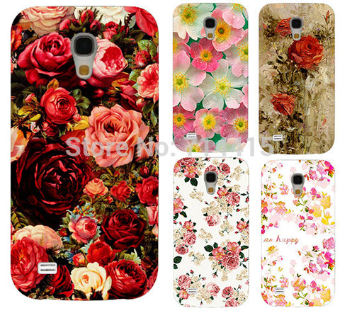 2014  Freeshipping Colorful Brilliant Rose Peony Flowers Background phone case cover skin Shell for Samsung galaxy S4 mini I9190