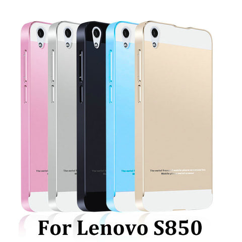 2015 Hot Lenovo S850 3G Metal Case Acrylic Back Cover & Aluminum Frame Set Phone Bag Cases for S850