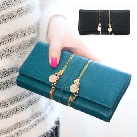 2015 Hot New Women Ladies Casual Business Handy Luxury Double Zipper Solid Faux Leather Card Coin Long