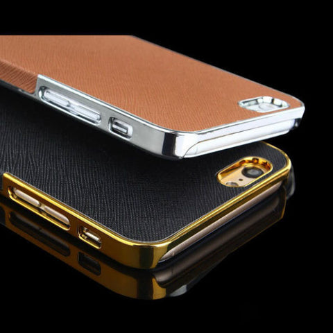 2015 Luxury Fashion PU Leather and Plastic Skin Case Back Cover For iPhone5 5s 5g Dirt-resistant Cell Phone Cover housing