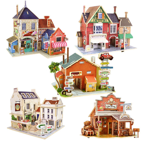2015 New Arrival DIY 3D Jigsaw Puzzle Wooden Toys Kids Educational Toys Children's Educational Wooden Cartoon Castle Chalets