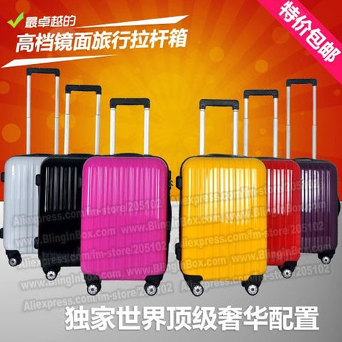 "24"" inch  ABS+PC fashion smooth face trolley luggage/travel suitcase with spinner 8pcs wheels"