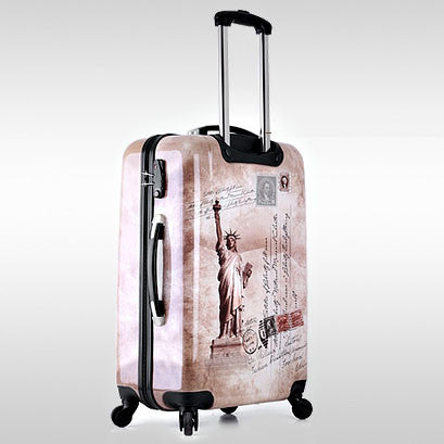 "24"" inch Statue of Liberty Women Girl trolley suitcase luggage ABS PC Pull Rod trunk traveller case customs lock boarding bag"