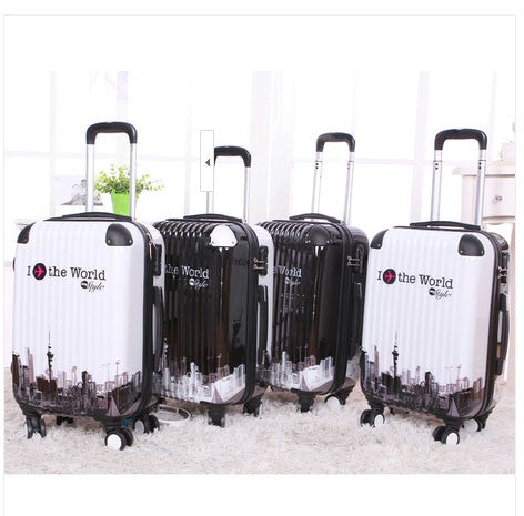 "24""  suitcase luggage traveller case Pull Rod trunk trolley ABS PC Man Women boarding bag with rolling spinner wheels"
