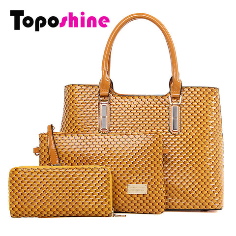 3 Pc/Set Women Bag High Quality Composite Bag PU Leather Lchthyosis