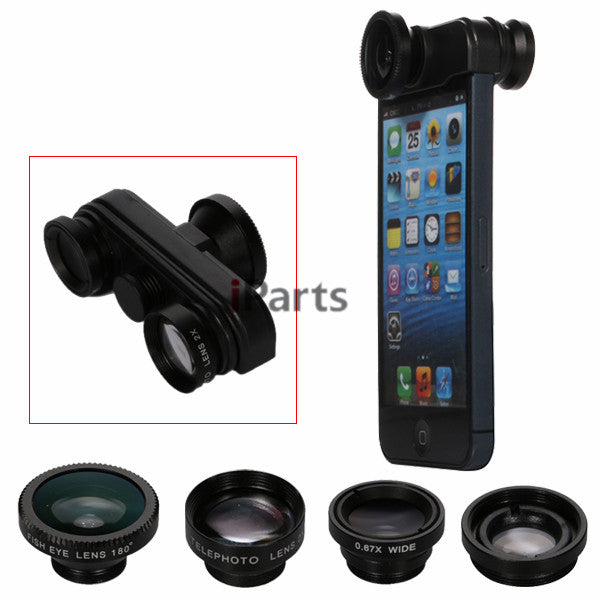 360 Rotating 4 in 1 Fish Eye Telephoto Lens Camera for iPhone 5S 5 Mobile Phone Lens - Shopy Max