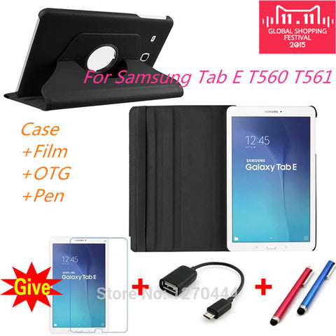 360 Rotating Litchi skin Leather case cover for Samsung Galaxy Tab E 9.6 T560 T561