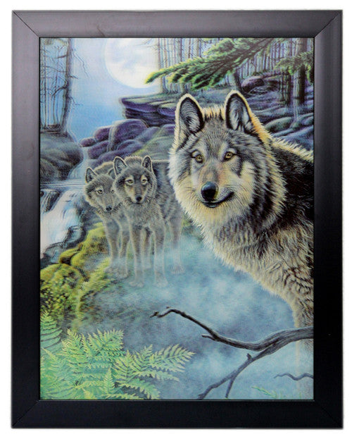 Iconic 3D 44x34cm - Watching Wolf Pack