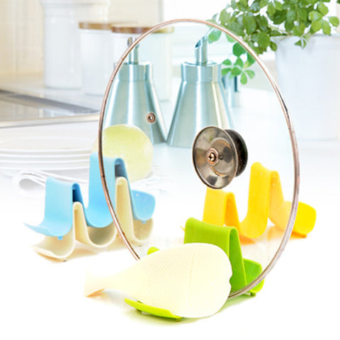 Useful Creative Convenient Wave Design Pan Pot Cover Lid Rack Stand Holder Cooking Accessories