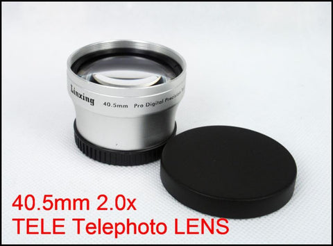 40.5mm 2.0x TELE Telephoto LENS for Canon Nikon Sony Digital Camera Camcorder Silver