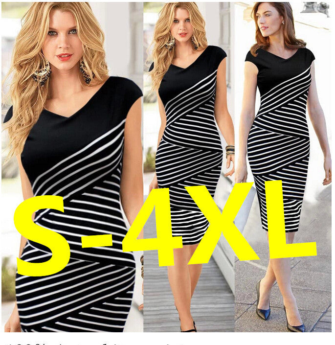 Hot-selling black and white stripe plus size summer women's one-piece dress slim pencil skirt 498 - Shopy Max