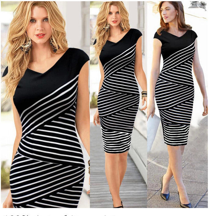 Hot-selling black and white stripe plus size summer women s one-piece dress  slim 7dd654fde