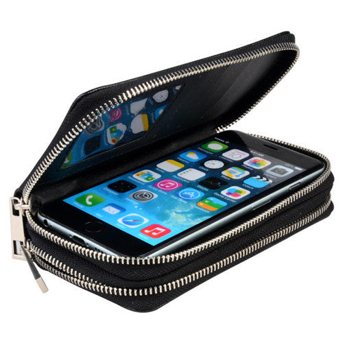 Leather double Zipper Wallet For Iphone 6 plus iphone 6 s plus  phone handbag