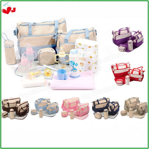 7 Colors 5Pcs/Set 2015 Fashion Tote Baby Shoulder Durable Diaper Bags,High Quality Nappy Mummy Maternity Bags Baby Care Products