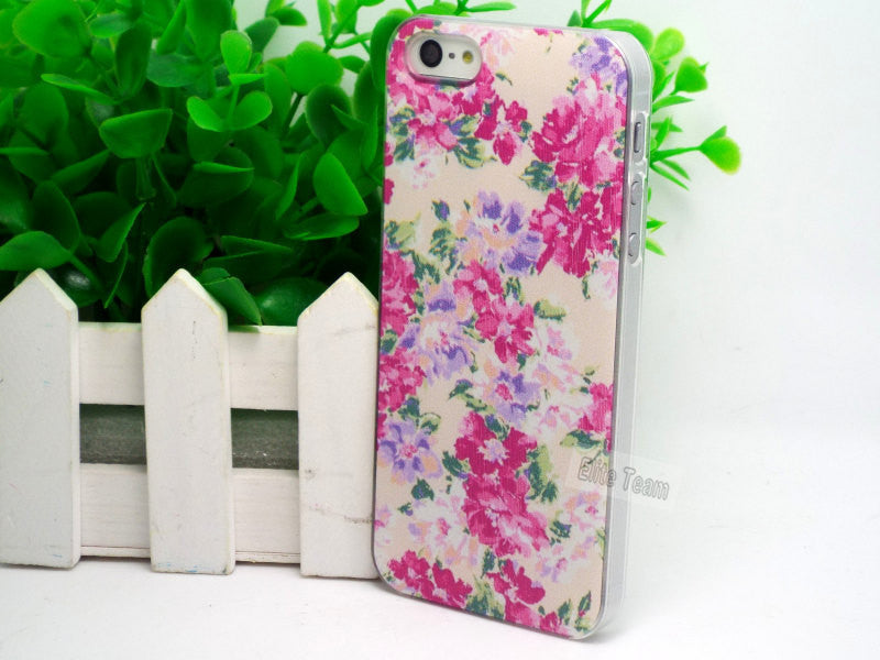 Shell For Apple iPhone 5 5S 5G Cases iPhone5S iPhone5 Back Case Cover Printing Flower Floral Cell Phone Cases:HHWV- 05 TTT & 099 - Shopy Max