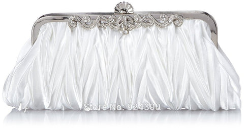 ElegantPark Women TA008 Pleated Satin Shining Rhinestone With Silver Shoulder Chain Wedding Party Clutch Handbag
